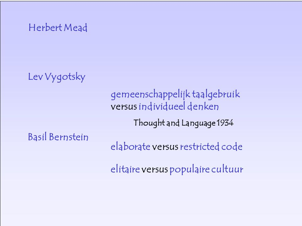 Lev Vygotsky gemeenschappelijk taalgebruik versus individueel denken Thought and Language 1934 Basil Bernstein elitaire versus populaire cultuur elaborate versus restricted code Herbert Mead
