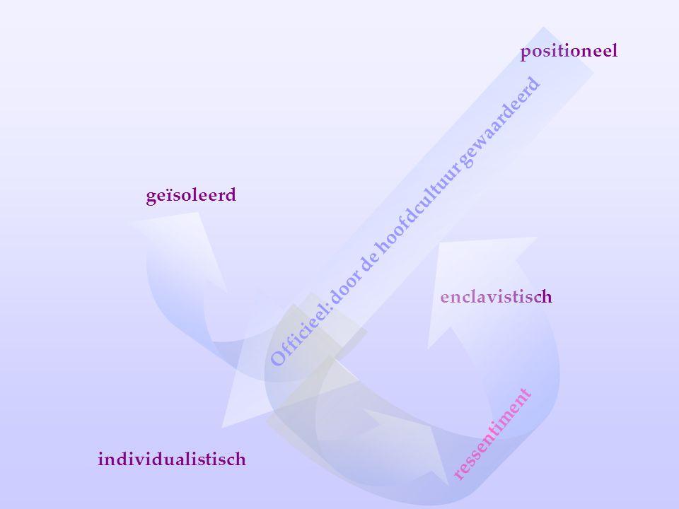 positioneel individualistisch enclavistisch geïsoleerd ressentiment Officieel: door de hoofdcultuur gewaardeerd