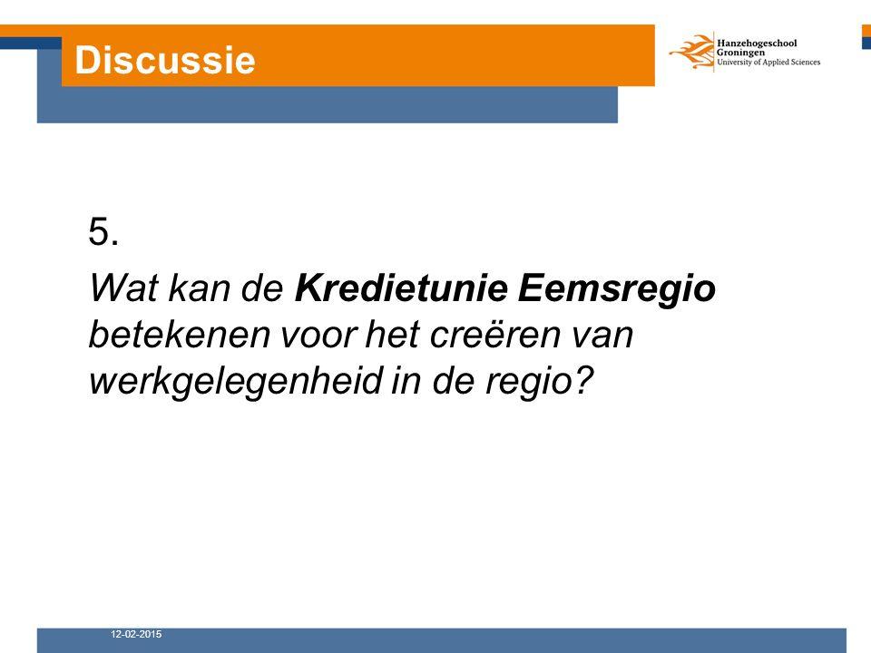 Discussie 12-02-2015 5. Wat kan de Kredietunie Eemsregio betekenen voor het creëren van werkgelegenheid in de regio?