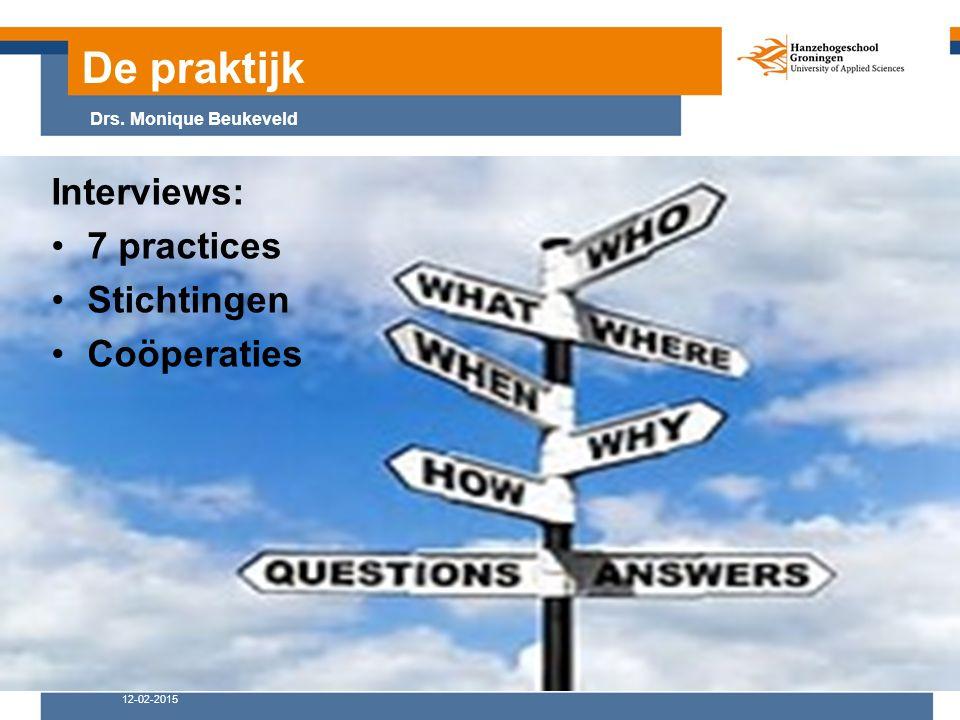 De praktijk 12-02-2015 Drs. Monique Beukeveld Interviews: 7 practices Stichtingen Coöperaties