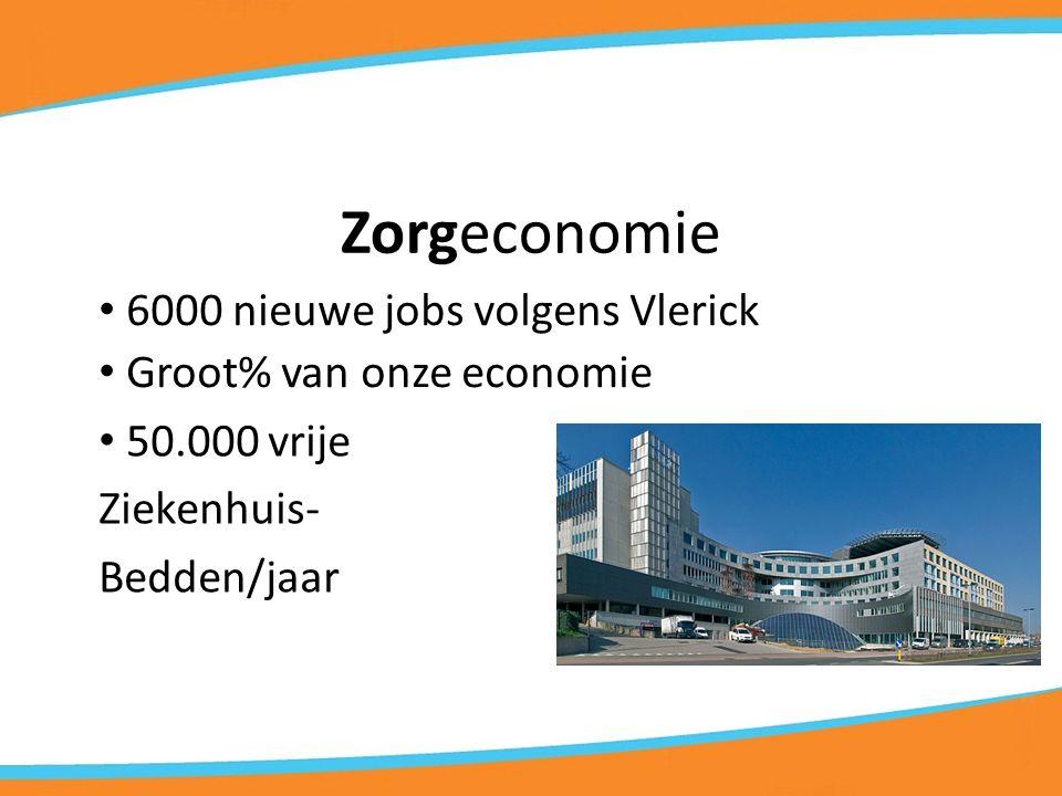 Zorgeconomie 6000 nieuwe jobs volgens Vlerick Groot% van onze economie 50.000 vrije Ziekenhuis- Bedden/jaar