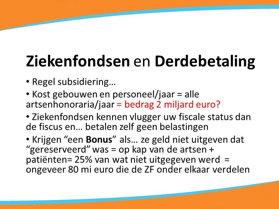 Ziekenfondsen en Derdebetaling Regel subsidiering… Kost gebouwen en personeel/jaar = alle artsenhonoraria/jaar = bedrag 2 miljard euro.