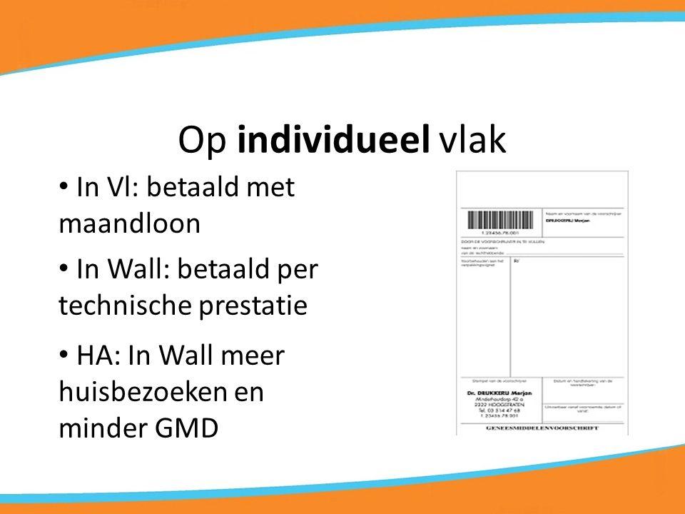 Op individueel vlak In Vl: betaald met maandloon In Wall: betaald per technische prestatie HA: In Wall meer huisbezoeken en minder GMD
