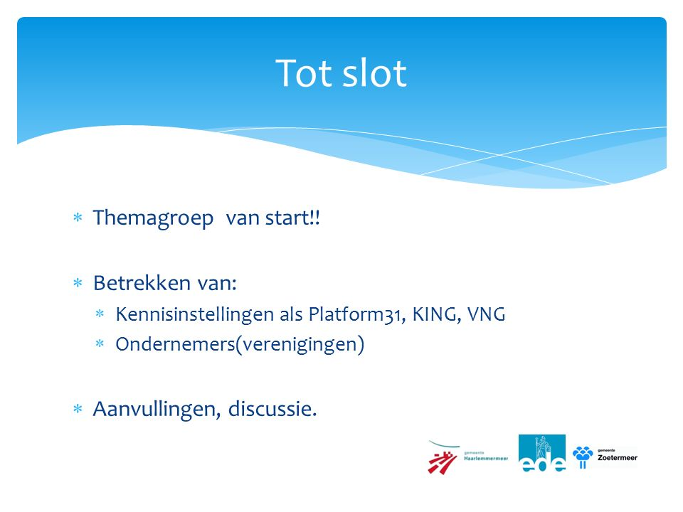  Themagroep van start!.