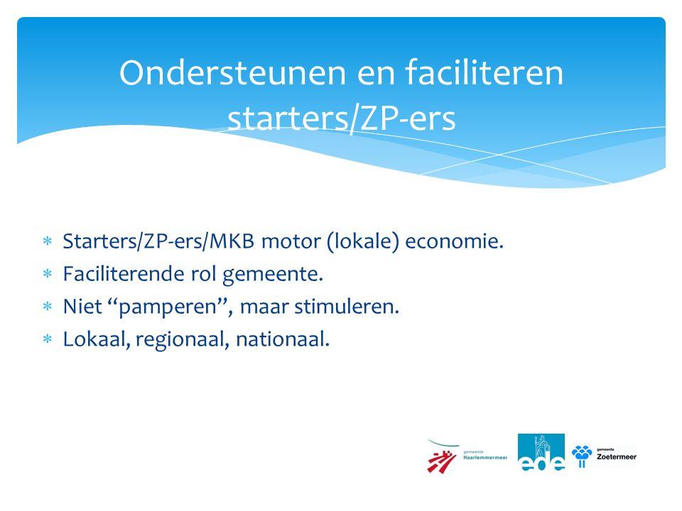  Starters/ZP-ers/MKB motor (lokale) economie.  Faciliterende rol gemeente.