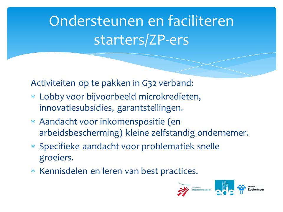 Activiteiten op te pakken in G32 verband:  Lobby voor bijvoorbeeld microkredieten, innovatiesubsidies, garantstellingen.