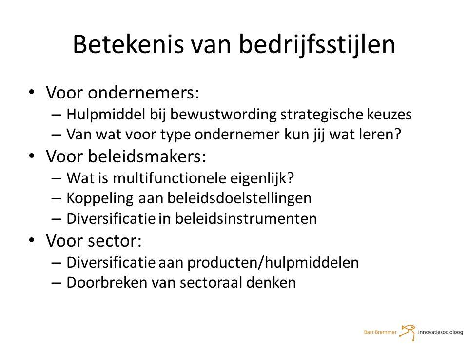 Betekenis van bedrijfsstijlen Voor ondernemers: – Hulpmiddel bij bewustwording strategische keuzes – Van wat voor type ondernemer kun jij wat leren.