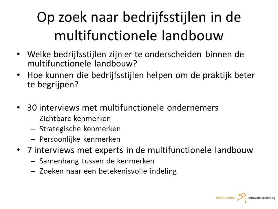 Op zoek naar bedrijfsstijlen in de multifunctionele landbouw Welke bedrijfsstijlen zijn er te onderscheiden binnen de multifunctionele landbouw.