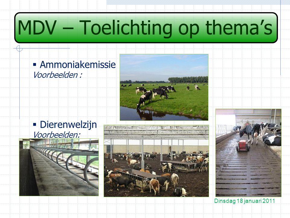 MDV – Toelichting op thema's Dinsdag 18 januari 2011  Ammoniakemissie Voorbeelden :  Dierenwelzijn Voorbeelden: