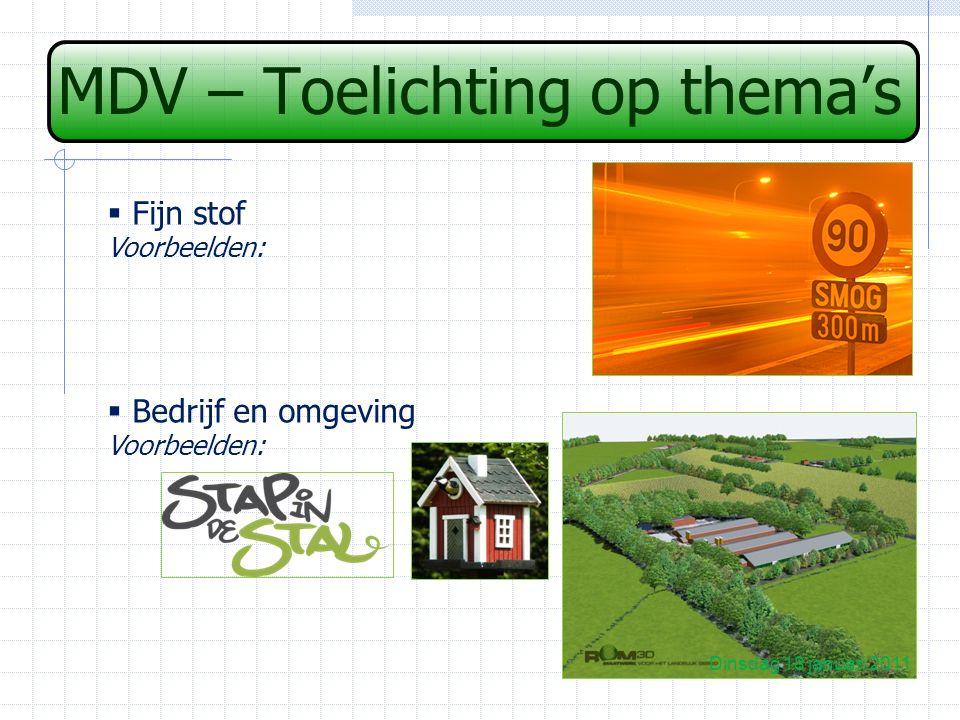 MDV – Toelichting op thema's Dinsdag 18 januari 2011  Fijn stof Voorbeelden:  Bedrijf en omgeving Voorbeelden:
