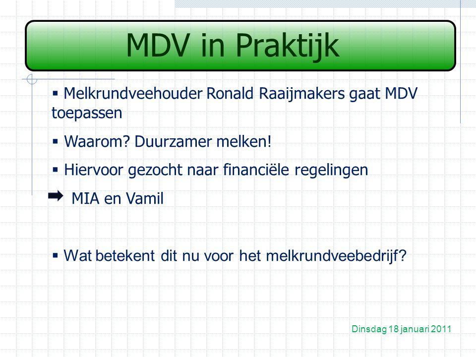 MDV in Praktijk Dinsdag 18 januari 2011  Melkrundveehouder Ronald Raaijmakers gaat MDV toepassen  Waarom.