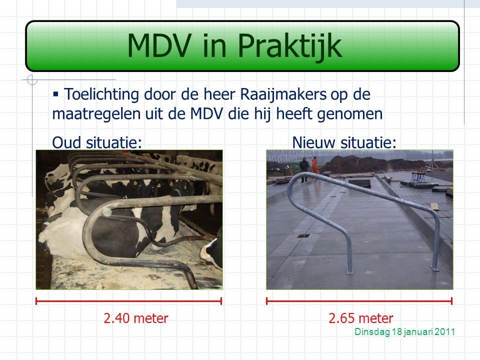 MDV in Praktijk  Toelichting door de heer Raaijmakers op de maatregelen uit de MDV die hij heeft genomen Oud situatie:Nieuw situatie: Dinsdag 18 januari 2011 2.40 meter2.65 meter