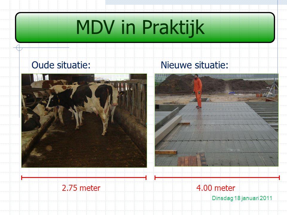 MDV in Praktijk Oude situatie:Nieuwe situatie: Dinsdag 18 januari 2011 2.75 meter4.00 meter