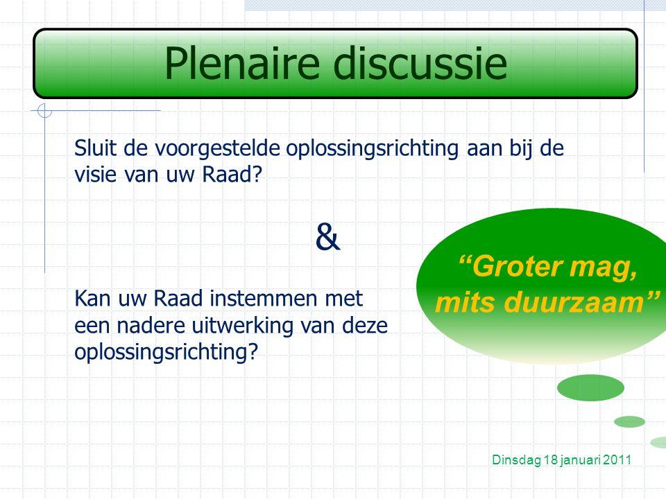 Plenaire discussie Dinsdag 18 januari 2011 Groter mag, mits duurzaam Sluit de voorgestelde oplossingsrichting aan bij de visie van uw Raad.