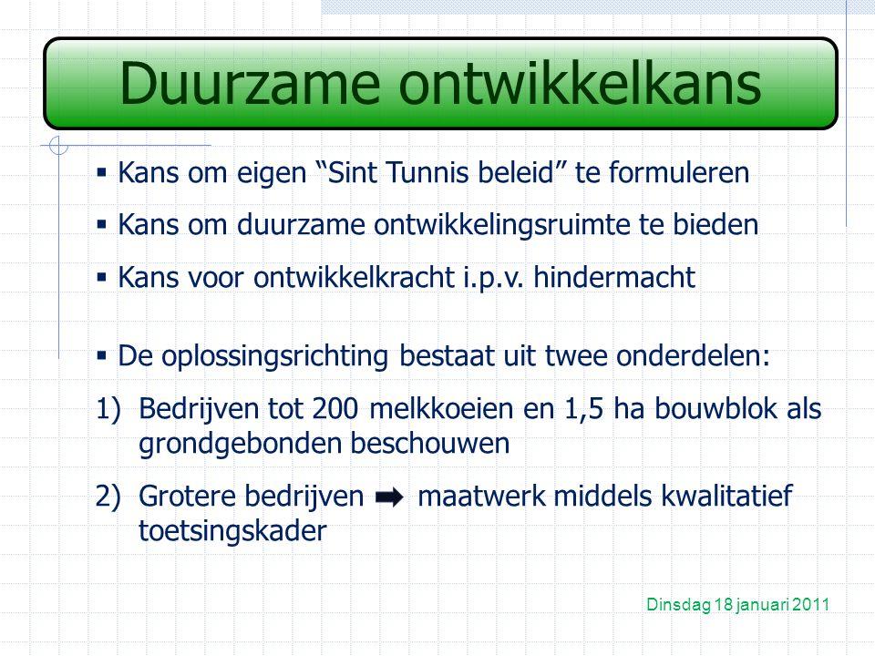 Duurzame ontwikkelkans Dinsdag 18 januari 2011  Kans om eigen Sint Tunnis beleid te formuleren  Kans om duurzame ontwikkelingsruimte te bieden  Kans voor ontwikkelkracht i.p.v.
