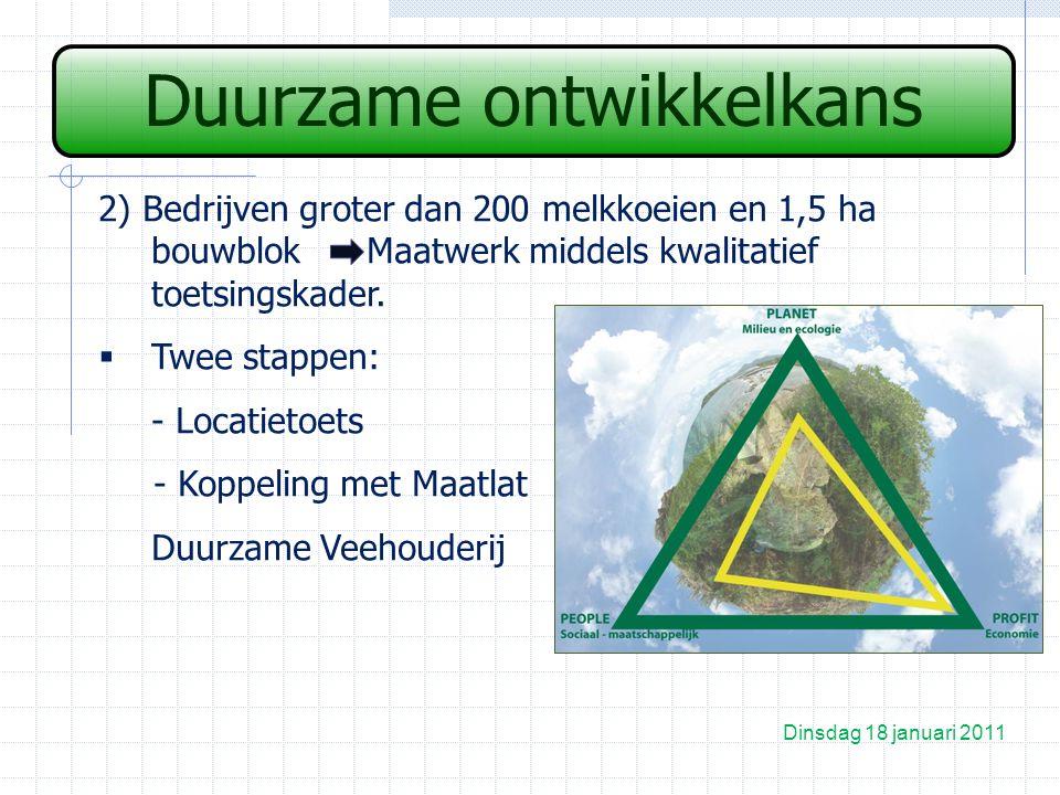 Duurzame ontwikkelkans Dinsdag 18 januari 2011 2) Bedrijven groter dan 200 melkkoeien en 1,5 ha bouwblok Maatwerk middels kwalitatief toetsingskader.