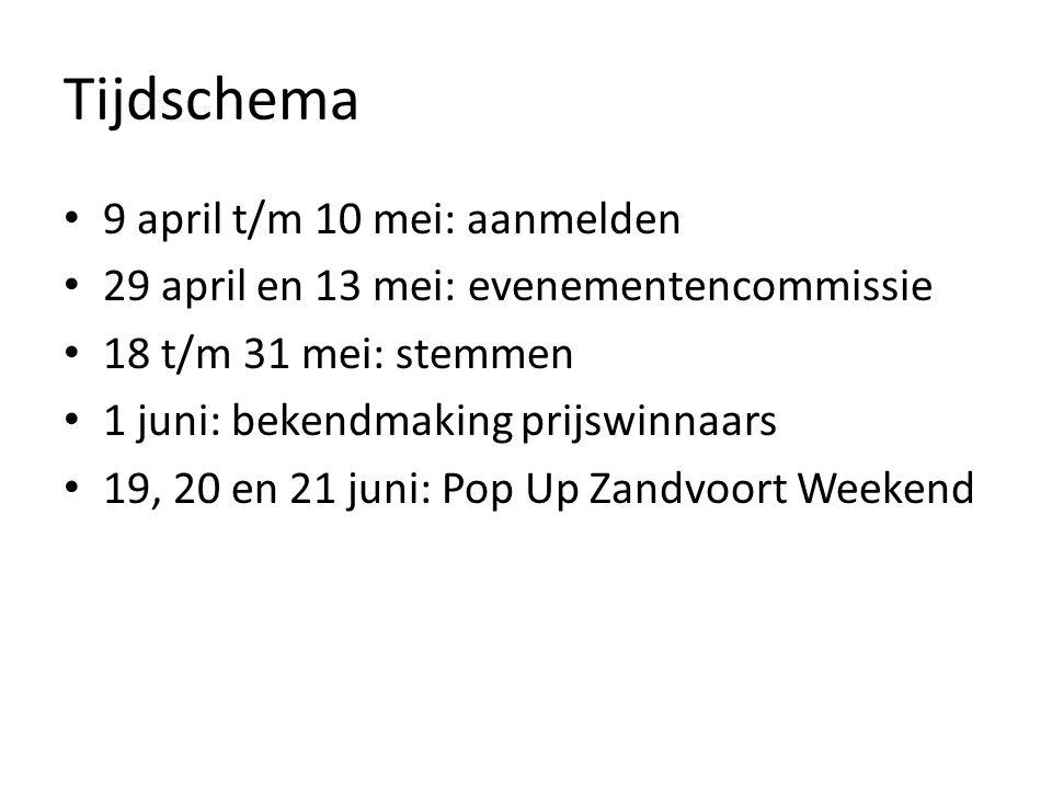 Tijdschema 9 april t/m 10 mei: aanmelden 29 april en 13 mei: evenementencommissie 18 t/m 31 mei: stemmen 1 juni: bekendmaking prijswinnaars 19, 20 en 21 juni: Pop Up Zandvoort Weekend