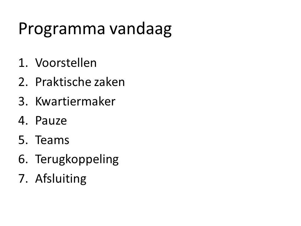 Programma vandaag 1.Voorstellen 2.Praktische zaken 3.Kwartiermaker 4.Pauze 5.Teams 6.Terugkoppeling 7.Afsluiting