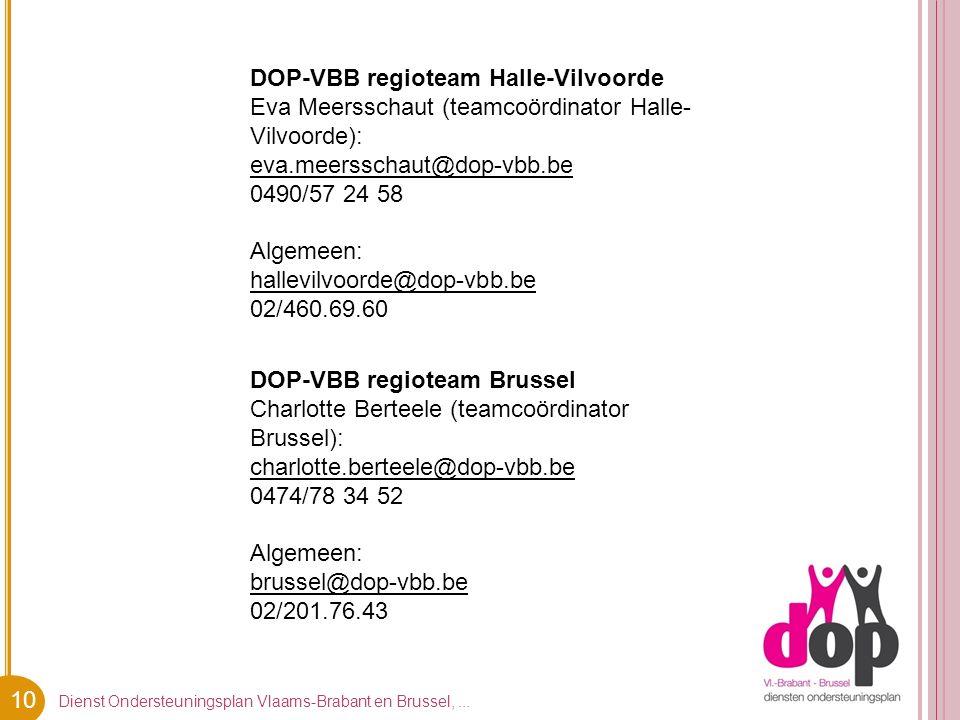 10 Dienst Ondersteuningsplan Vlaams-Brabant en Brussel,... DOP-VBB regioteam Halle-Vilvoorde Eva Meersschaut (teamcoördinator Halle- Vilvoorde): eva.m