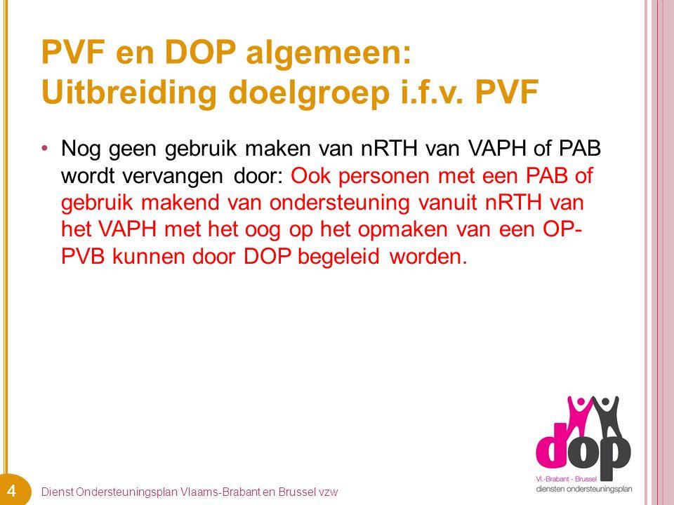4 PVF en DOP algemeen: Uitbreiding doelgroep i.f.v. PVF Nog geen gebruik maken van nRTH van VAPH of PAB wordt vervangen door: Ook personen met een PAB