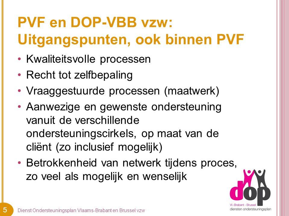 5 PVF en DOP-VBB vzw: Uitgangspunten, ook binnen PVF Dienst Ondersteuningsplan Vlaams-Brabant en Brussel vzw Kwaliteitsvolle processen Recht tot zelfbepaling Vraaggestuurde processen (maatwerk) Aanwezige en gewenste ondersteuning vanuit de verschillende ondersteuningscirkels, op maat van de cliënt (zo inclusief mogelijk) Betrokkenheid van netwerk tijdens proces, zo veel als mogelijk en wenselijk
