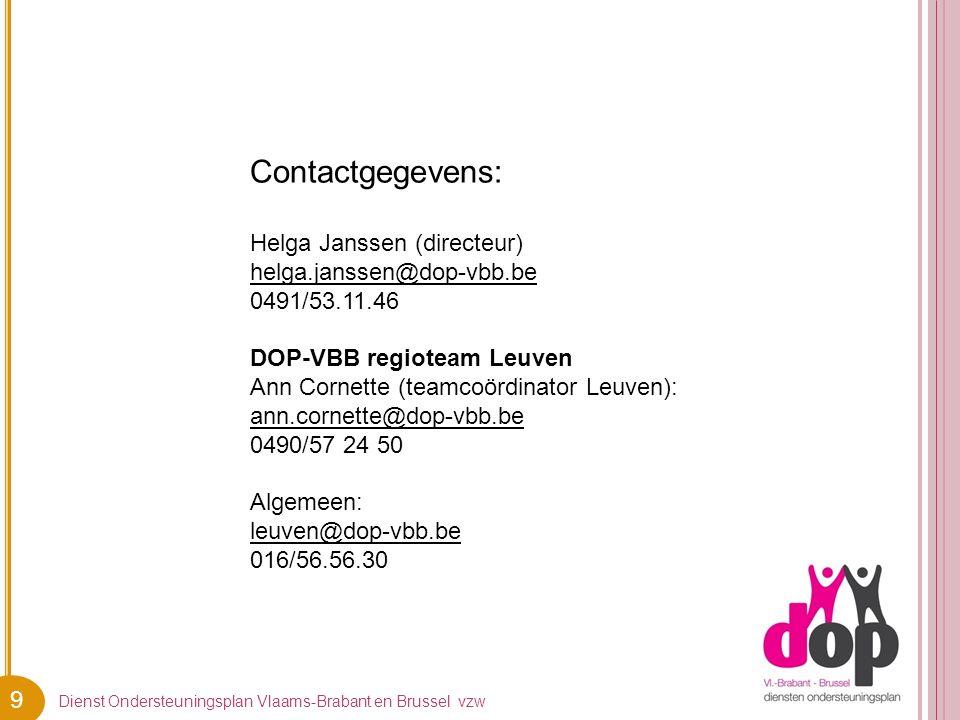 9 Contactgegevens: Helga Janssen (directeur) helga.janssen@dop-vbb.be 0491/53.11.46 DOP-VBB regioteam Leuven Ann Cornette (teamcoördinator Leuven): an
