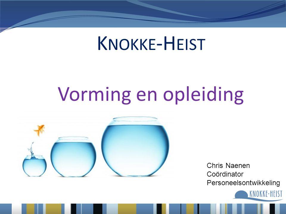 K NOKKE -H EIST Vorming en opleiding Chris Naenen Coördinator Personeelsontwikkeling