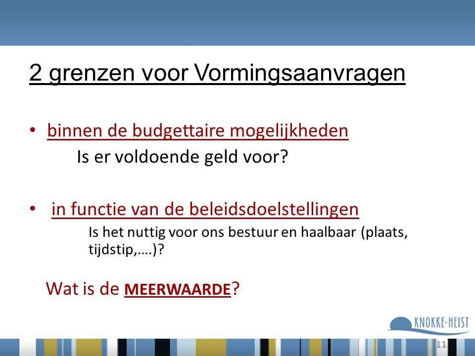 11 2 grenzen voor Vormingsaanvragen binnen de budgettaire mogelijkheden Is er voldoende geld voor.