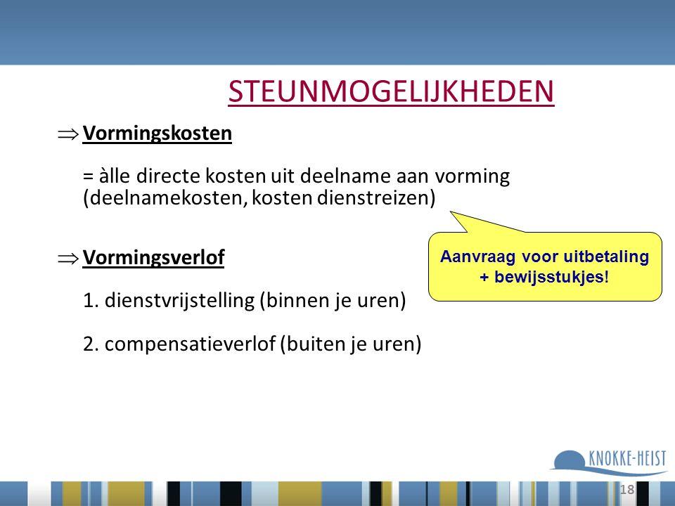 18 STEUNMOGELIJKHEDEN  Vormingskosten = àlle directe kosten uit deelname aan vorming (deelnamekosten, kosten dienstreizen)  Vormingsverlof 1.