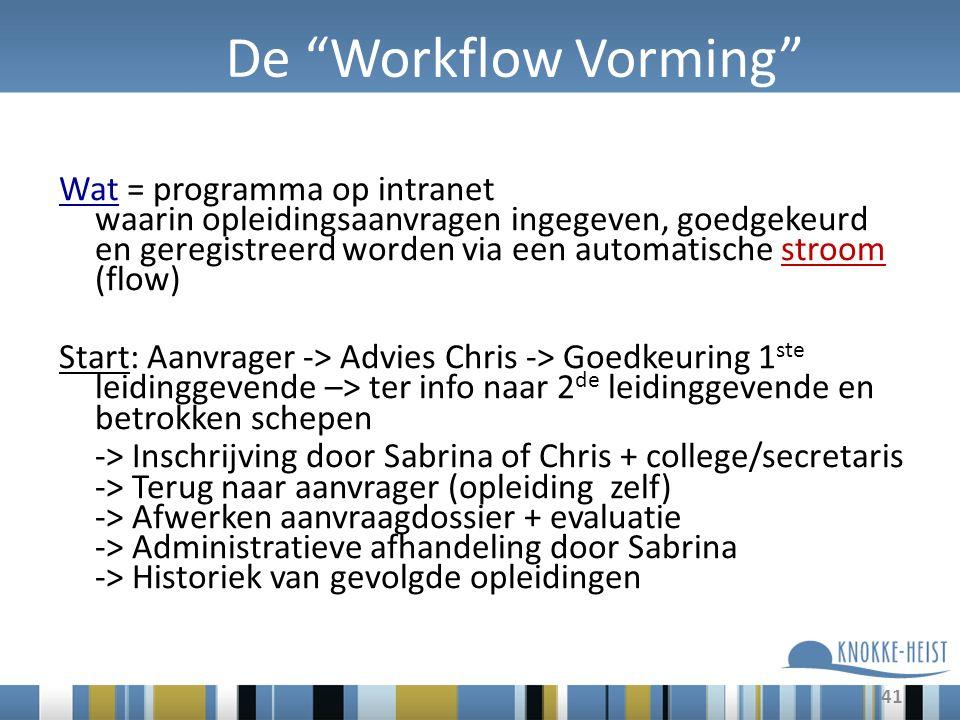 41 De Workflow Vorming Wat = programma op intranet waarin opleidingsaanvragen ingegeven, goedgekeurd en geregistreerd worden via een automatische stroom (flow) Start: Aanvrager -> Advies Chris -> Goedkeuring 1 ste leidinggevende –> ter info naar 2 de leidinggevende en betrokken schepen -> Inschrijving door Sabrina of Chris + college/secretaris -> Terug naar aanvrager (opleiding zelf) -> Afwerken aanvraagdossier + evaluatie -> Administratieve afhandeling door Sabrina -> Historiek van gevolgde opleidingen