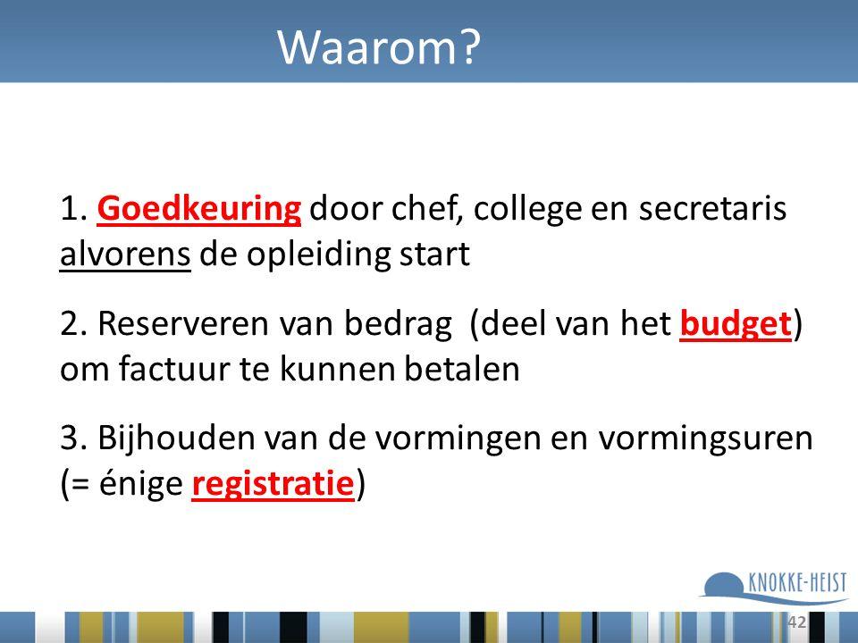 Waarom. 1. Goedkeuring door chef, college en secretaris alvorens de opleiding start 2.