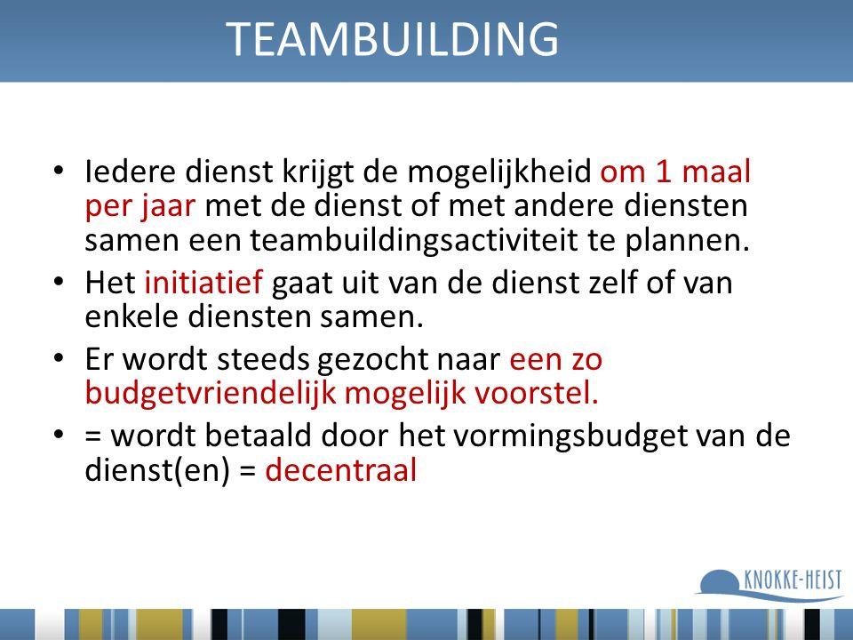 Iedere dienst krijgt de mogelijkheid om 1 maal per jaar met de dienst of met andere diensten samen een teambuildingsactiviteit te plannen.
