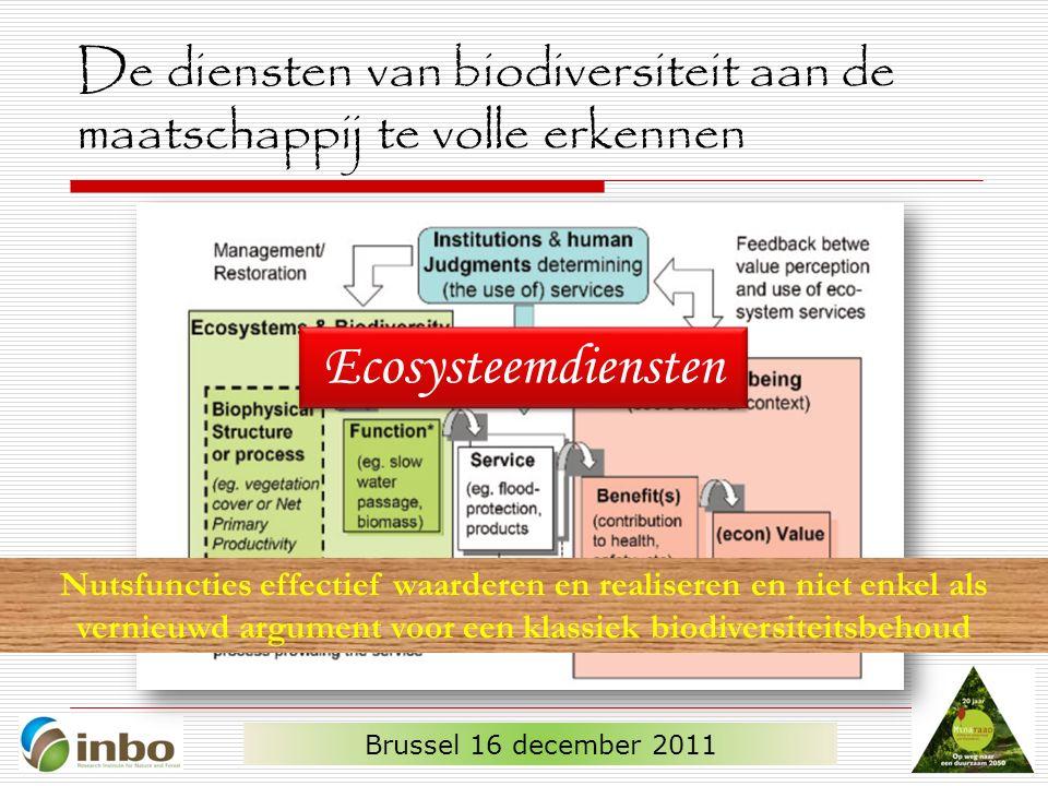 De diensten van biodiversiteit aan de maatschappij te volle erkennen Brussel 16 december 2011 Ecosysteemdiensten Nutsfuncties effectief waarderen en realiseren en niet enkel als vernieuwd argument voor een klassiek biodiversiteitsbehoud
