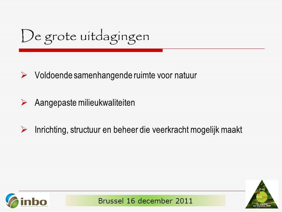 De grote uitdagingen  Voldoende samenhangende ruimte voor natuur  Aangepaste milieukwaliteiten  Inrichting, structuur en beheer die veerkracht mogelijk maakt Brussel 16 december 2011