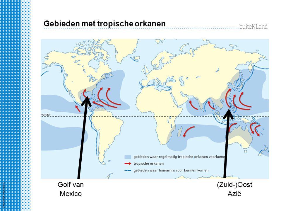 Gebieden met tropische orkanen Golf van Mexico (Zuid-)Oost Azië