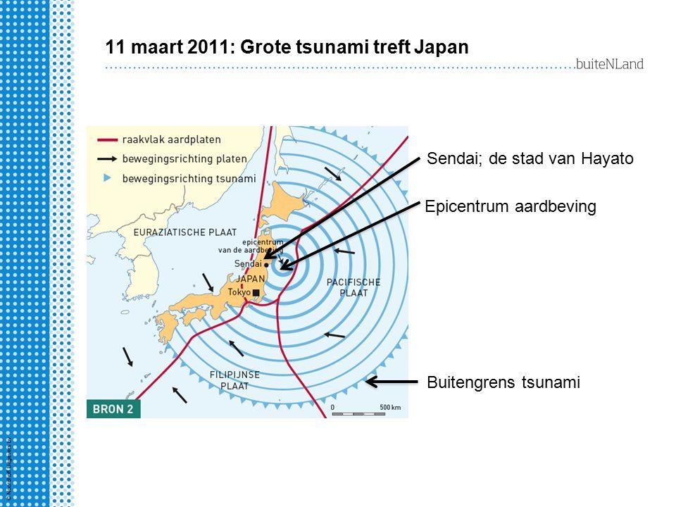 11 maart 2011: Grote tsunami treft Japan Epicentrum aardbeving Sendai; de stad van Hayato Buitengrens tsunami