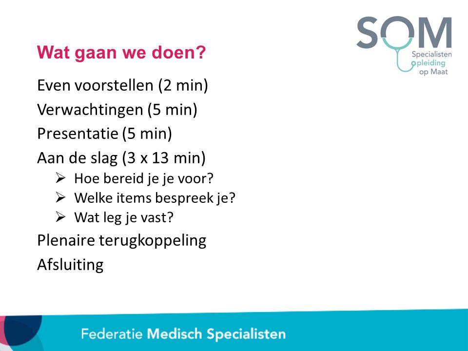Wat gaan we doen? Even voorstellen (2 min) Verwachtingen (5 min) Presentatie (5 min) Aan de slag (3 x 13 min)  Hoe bereid je je voor?  Welke items b