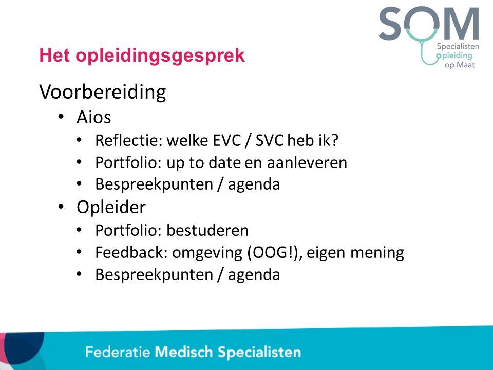 Het opleidingsgesprek Voorbereiding Aios Reflectie: welke EVC / SVC heb ik? Portfolio: up to date en aanleveren Bespreekpunten / agenda Opleider Portf