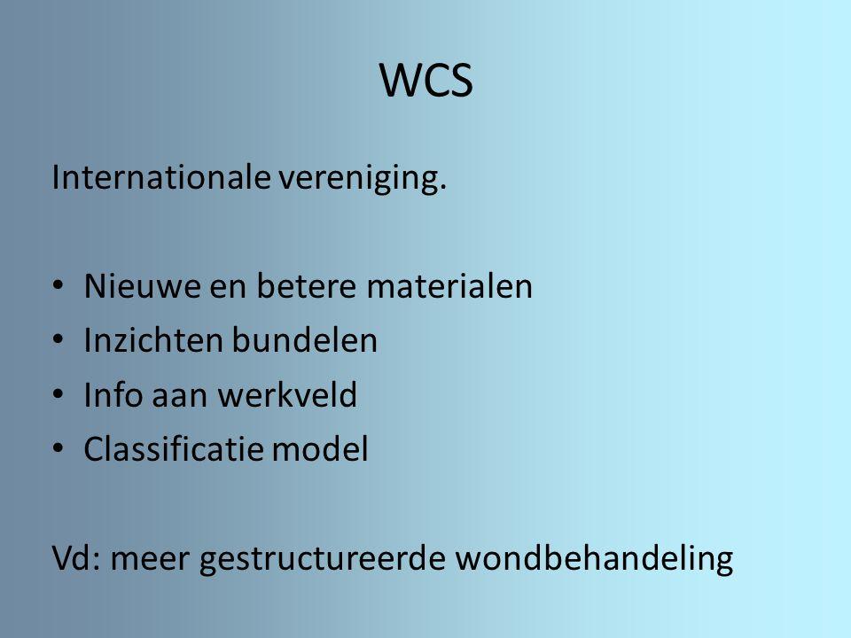WCS Internationale vereniging. Nieuwe en betere materialen Inzichten bundelen Info aan werkveld Classificatie model Vd: meer gestructureerde wondbehan