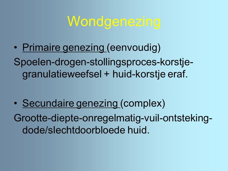 Wondgenezing Primaire genezing (eenvoudig) Spoelen-drogen-stollingsproces-korstje- granulatieweefsel + huid-korstje eraf. Secundaire genezing (complex