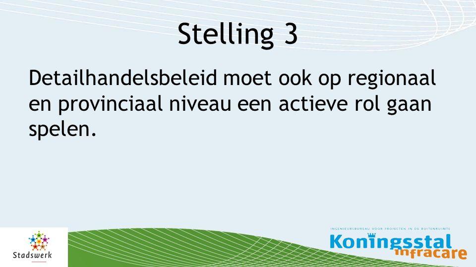 Stelling 3 Detailhandelsbeleid moet ook op regionaal en provinciaal niveau een actieve rol gaan spelen.