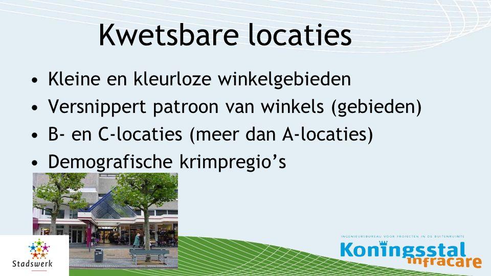 Kwetsbare locaties Kleine en kleurloze winkelgebieden Versnippert patroon van winkels (gebieden) B- en C-locaties (meer dan A-locaties) Demografische krimpregio's