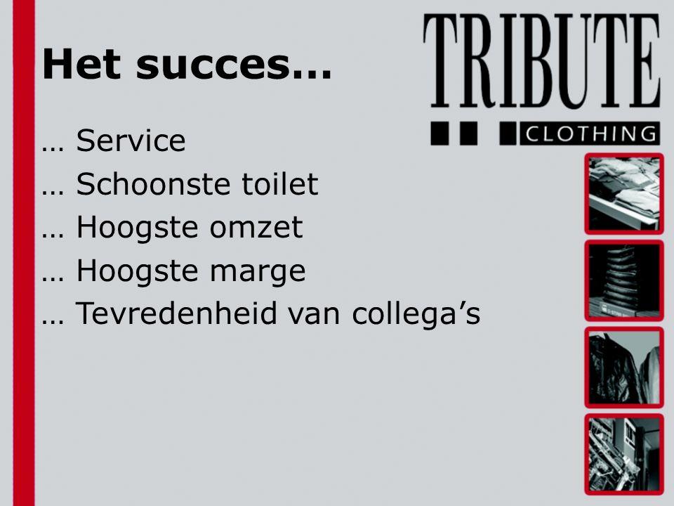 Het succes… … Service … Schoonste toilet … Hoogste omzet … Hoogste marge … Tevredenheid van collega's