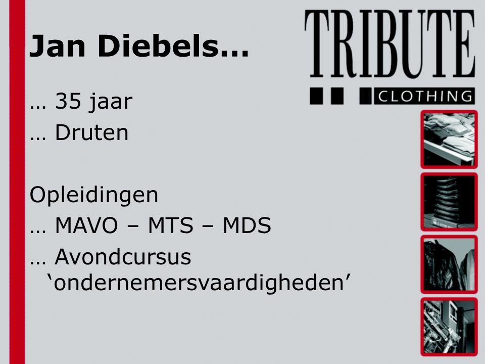 Jan Diebels… … 35 jaar … Druten Opleidingen … MAVO – MTS – MDS … Avondcursus 'ondernemersvaardigheden'