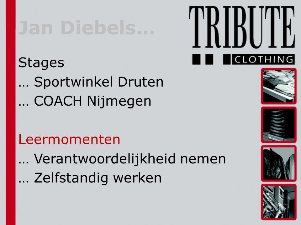 Jan Diebels… Stages … Sportwinkel Druten … COACH Nijmegen Leermomenten … Verantwoordelijkheid nemen … Zelfstandig werken