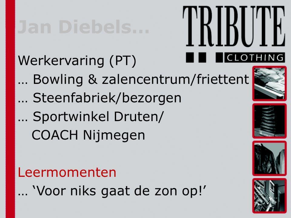 Jan Diebels… Werkervaring (PT) … Bowling & zalencentrum/friettent … Steenfabriek/bezorgen … Sportwinkel Druten/ COACH Nijmegen Leermomenten … 'Voor niks gaat de zon op!'