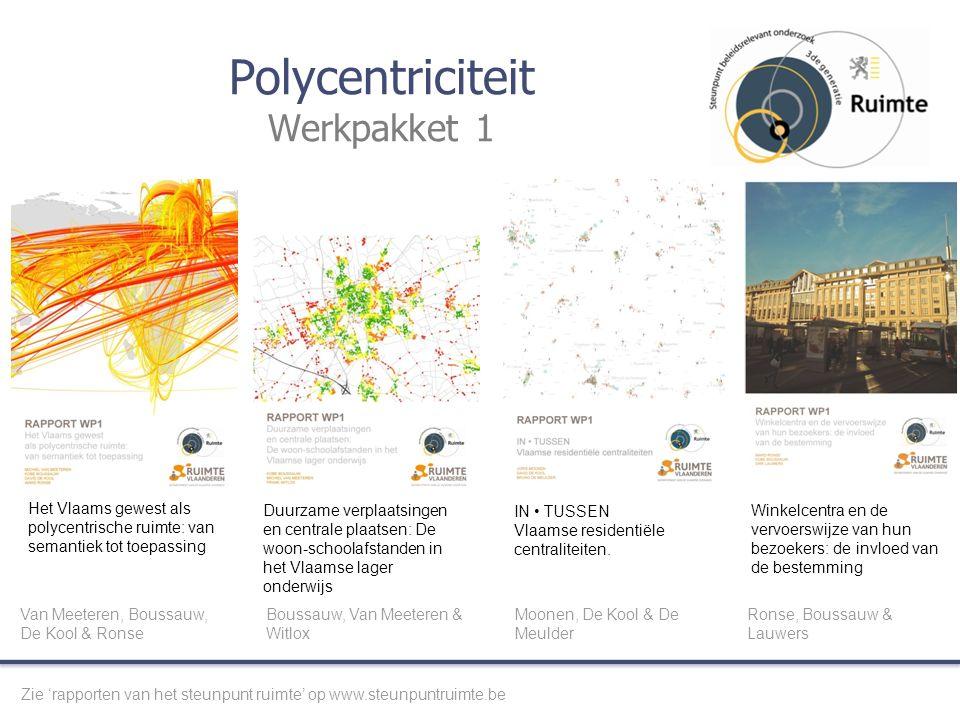 Polycentriciteit Werkpakket 1 Het Vlaams gewest als polycentrische ruimte: van semantiek tot toepassing Duurzame verplaatsingen en centrale plaatsen: De woon-schoolafstanden in het Vlaamse lager onderwijs IN TUSSEN Vlaamse residentiële centraliteiten.