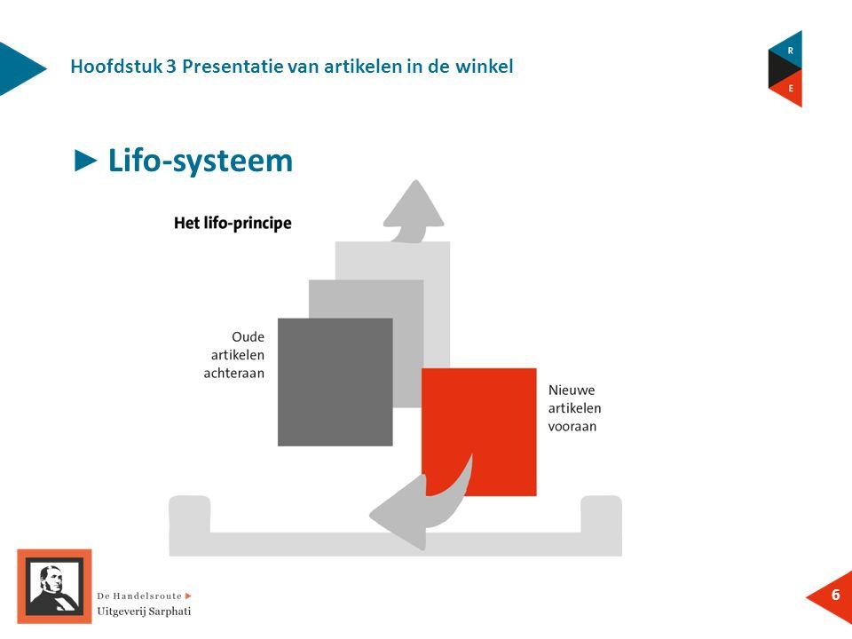 Hoofdstuk 3 Presentatie van artikelen in de winkel 6 ► Lifo-systeem