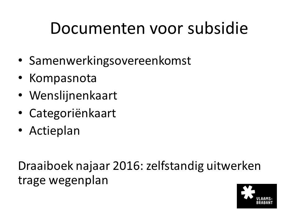 Documenten voor subsidie Samenwerkingsovereenkomst Kompasnota Wenslijnenkaart Categoriënkaart Actieplan Draaiboek najaar 2016: zelfstandig uitwerken t