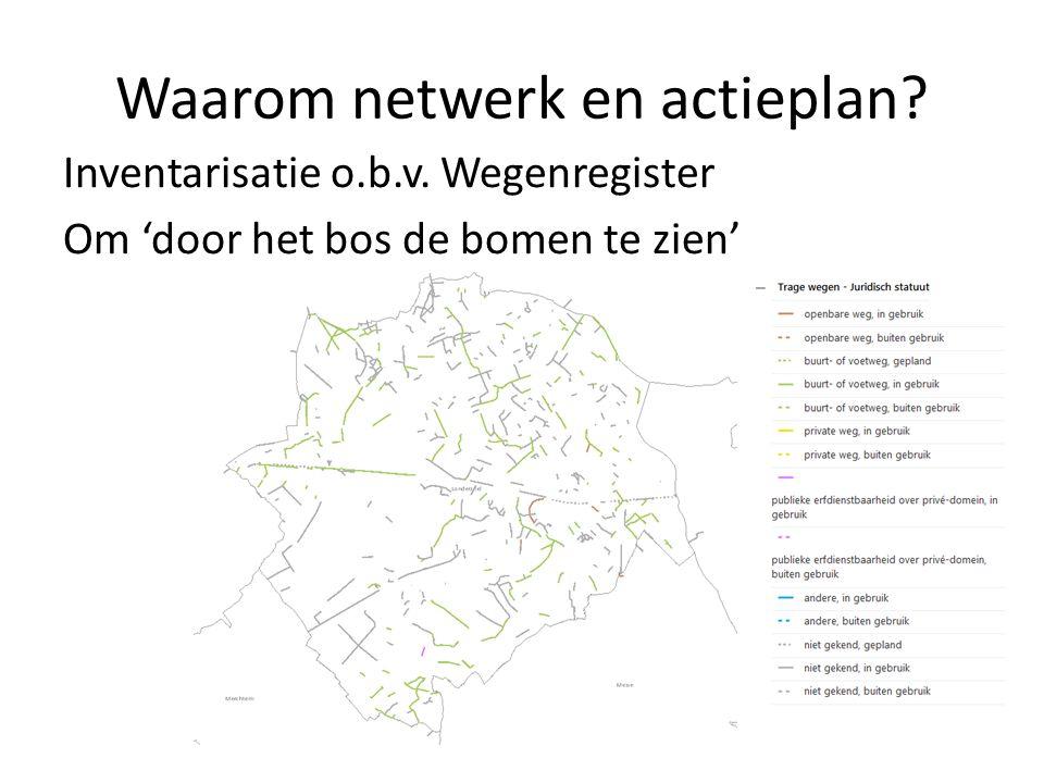 Waarom netwerk en actieplan? Inventarisatie o.b.v. Wegenregister Om 'door het bos de bomen te zien'